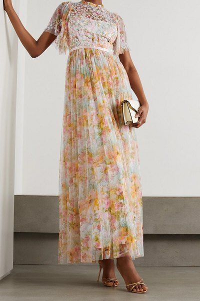 Needle & Thread sunset sequin-embellished floral-print tulle gown in peach