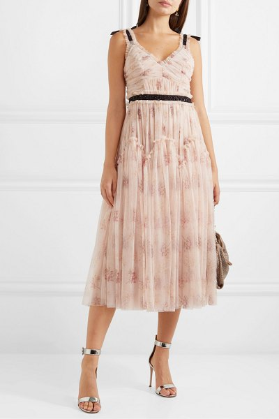 Needle & Thread think of me embellished satin-trimmed floral-print tulle midi dress in blush