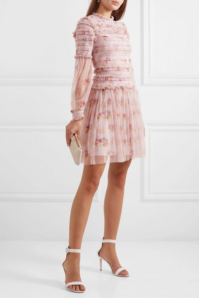 Needle & Thread think of me sequined shirred floral-print tulle mini dress in pastel pink