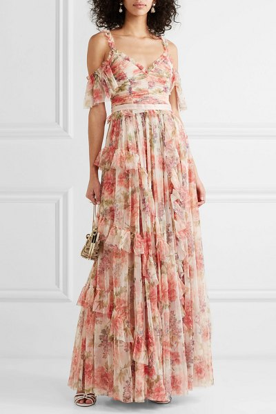 Needle & Thread titania cold-shoulder ruffled floral-print tulle gown in pink