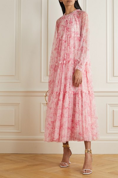 Needle & Thread toile de jouy tiered ruffled floral-print tulle maxi dress in pink