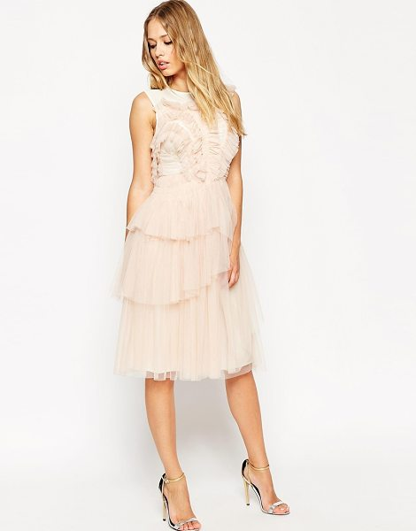 Needle & Thread Tulle frill midi dress in dustpinkcream