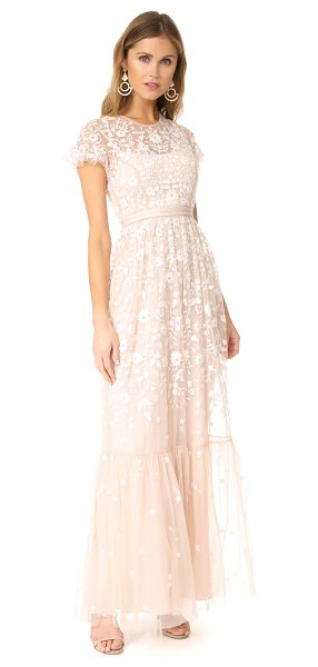 Needle & Thread tulle meadow gown in petal pink - NOTE: Runs true to size. Floral embroidery brings...