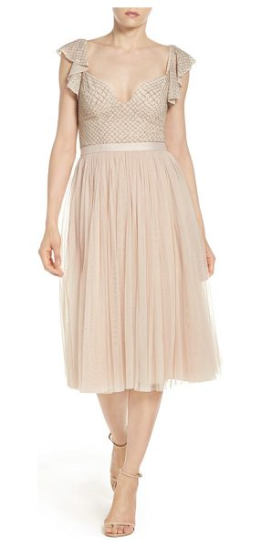 Needle & Thread tulle midi dress in petal pink - This low-cut evening dress shimmers in beaded...