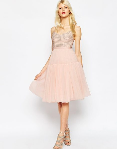 Needle & Thread Voluminous Tulle Embellished Dress in pink - Dress by Needle Thread, Woven fabric, Embellished top,...