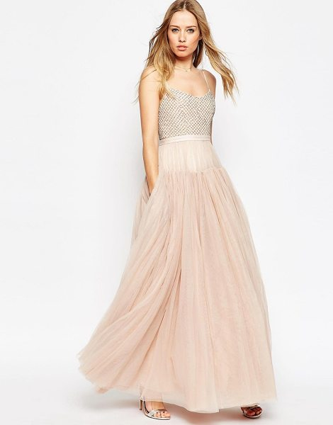 Needle & Thread Voluminous Tulle Embellished Maxi Dress in pink - Evening dress by Needle Thread, Bead-embellished bodice,...