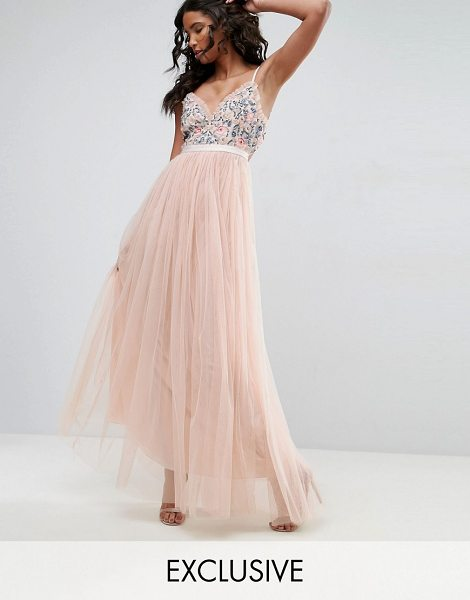"Needle & Thread Whisper Embroidered Tulle Maxi Dress in pink - """"Maxi dress by Needle Thread, Smooth woven fabric, Bead..."