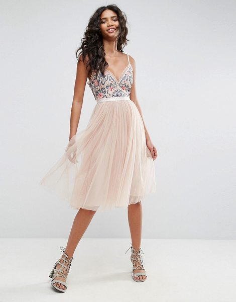 "Needle & Thread Whisper Embroidered Tulle Midi Dress in pink - """"Midi dress by Needle Thread, Lined tulle, Embroidered..."