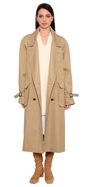 Nehera Oversized cotton twill trench coat in beige - Wide lapels . Double breasted closure . Adjustable...
