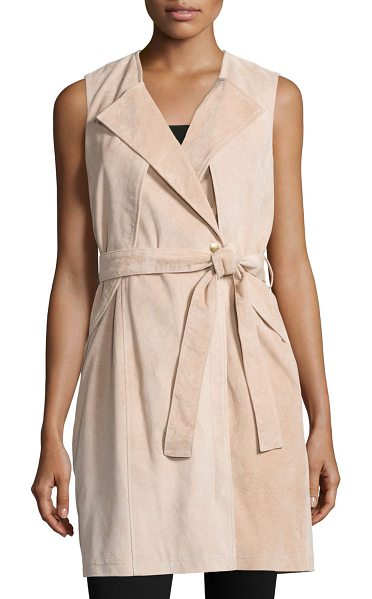NEIMAN MARCUS Belted Suede Trench Vest - EXCLUSIVELY AT NEIMAN MARCUS Suede trench vest....