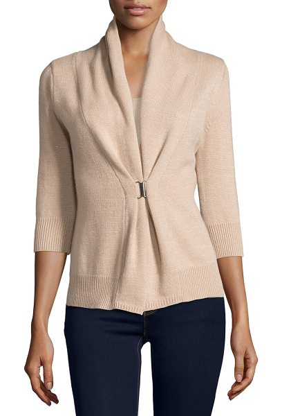 NEIMAN MARCUS CASHMERE COLLECTION 3/4-Sleeve Cashmere & Lurex® Half-Sleeve Buckle Cardigan in sand - ONLYATNM Only Here. Only Ours. Exclusively for You. 7GG,...