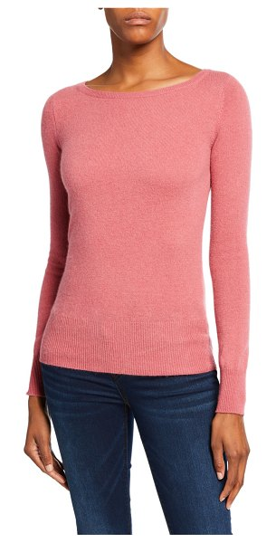 Neiman Marcus Cashmere Collection Bateau-Neck Long-Sleeve Classic Cashmere Sweater in hibiscus