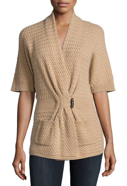 Neiman Marcus Cashmere Collection Cashmere basketweave toggle-front cardigan in camel - ONLYATNM Only Here. Only Ours. Exclusively for You....