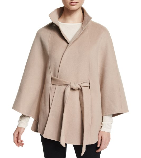 Neiman Marcus Cashmere Collection Cashmere belted cape in sand - ONLYATNM Only Here. Only Ours. Exclusively for You....