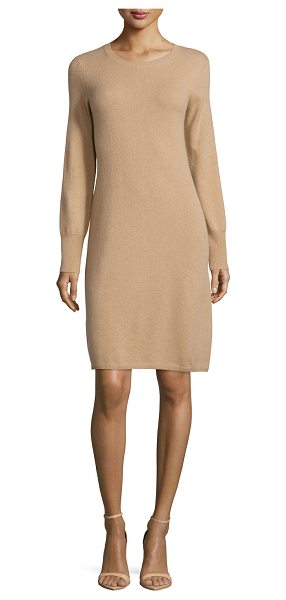 Neiman Marcus Cashmere Collection Cashmere Crewneck Sweater Dress in camel - ONLYATNM Only Here. Only Ours. Exclusively for You....