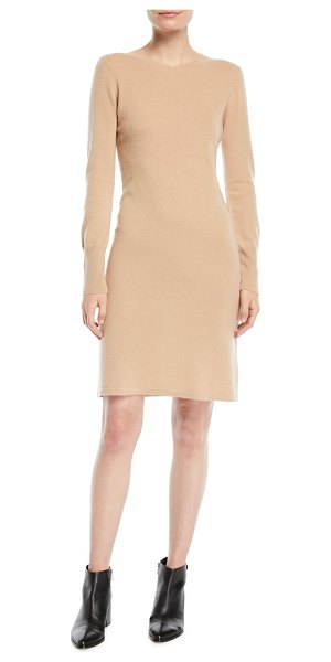 Neiman Marcus Cashmere Collection Cashmere Long-Sleeve Sweater Dress in camel - 9GG, 2-ply sweater dress. Crew neckline. Long sleeves....