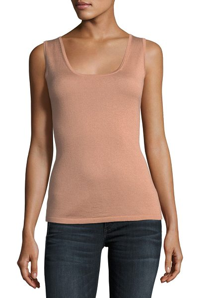 Neiman Marcus Cashmere Collection Cashmere Scoop-Neck Tank in nude - 16GG, 2-ply cashmere-blend tank top. Scoop neckline....