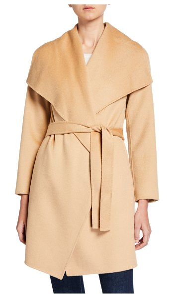 Neiman Marcus Cashmere Collection Double Face Cashmere Belted Shawl-Collar Coat in camel