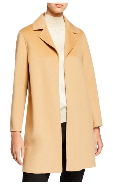 Neiman Marcus Cashmere Collection Double Face Cashmere Wrap Coat w/ Notch Collar in camel