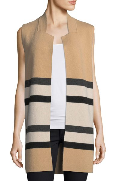 Neiman Marcus Cashmere Collection Double-Knit Striped Cashmere Vest in camel - 9GG, 2-ply striped cashmere vest. Partial stand collar;...