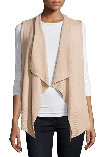 Neiman Marcus Cashmere Collection Cashmere Draped Vest in sand - 9GG, 2-ply front, 5GG, 6-ply back; cashmere knit vest....