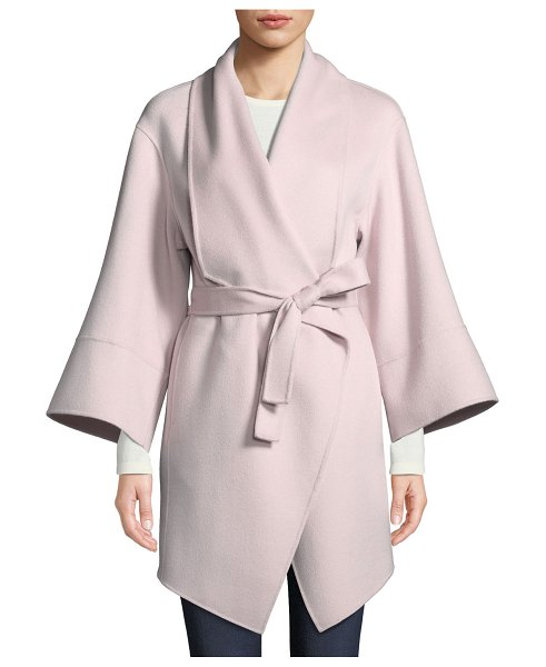 Neiman Marcus Cashmere Collection Luxury Double-Faced Cashmere Wrap Coat in buff - Luxury double-faced woven wrap coat. Shawl collar; open...