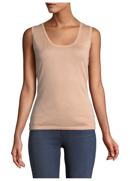 Neiman Marcus Cashmere Collection Modern Superfine Cashmere Scoop-Neck Tank in nude - 16 GG, 2-ply knit cashmere tank. Scoop neckline....