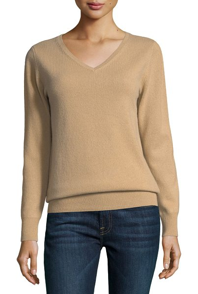 Neiman Marcus Cashmere Collection Relaxed V-Neck Cashmere Sweater in camel - 9GG, 2-ply cashmere sweater with ribbed trim. V...
