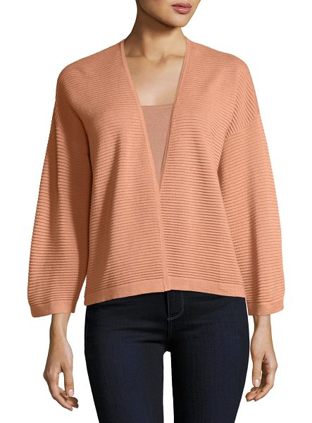 NEIMAN MARCUS CASHMERE COLLECTION Silk/Cashmere Ottoman Knit Cardigan in nude - 14GG, 2-ply ottoman knit. V neckline; open front....