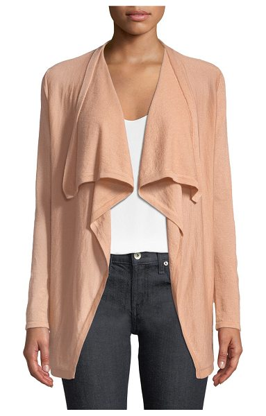 Neiman Marcus Cashmere Collection Superfine Cashmere Drape-Collar Cardigan in nude - 14 GG, 2-ply sweater. Shawl collar; open front. Long...