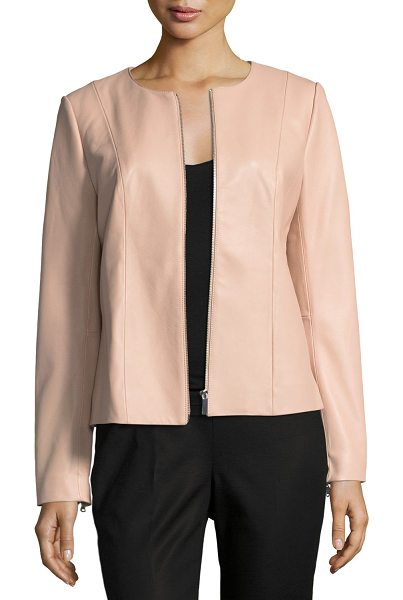 NEIMAN MARCUS LEATHER COLLECTION Center-Zip Leather Jacket in blush - Neiman Marcus Leather Collection leather jacket. Jewel...