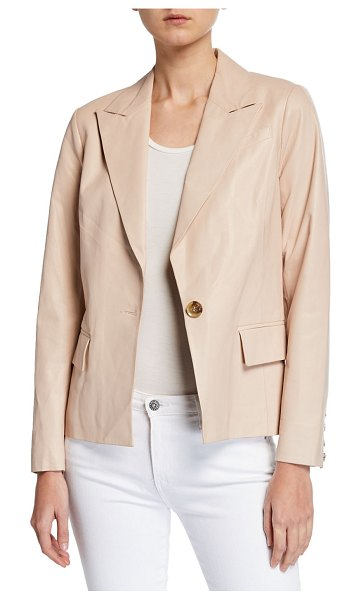 Neiman Marcus Leather Collection Leather One-Button Blazer in light beige