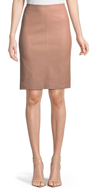 Neiman Marcus Leather Collection Leather Pencil Skirt in nude - Neiman Marcus Leather Collection leather pencil skirt....