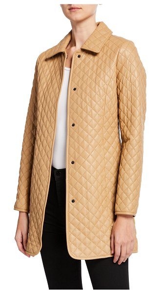 Neiman Marcus Leather Collection Quilted Leather Trenchcoat in camel
