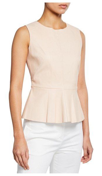 Neiman Marcus Leather Collection Sleeveless Leather Peplum Top in blush
