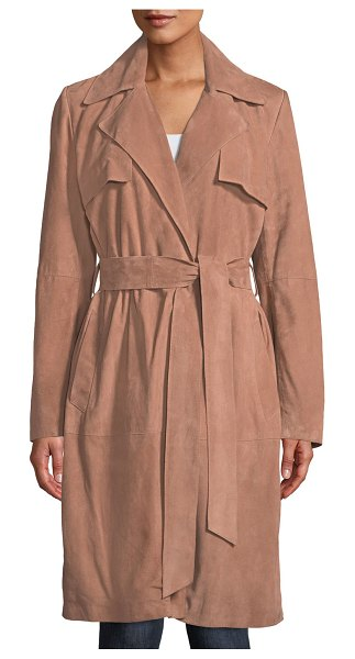 Neiman Marcus Leather Collection Suede Wrap Duster Coat in ginger