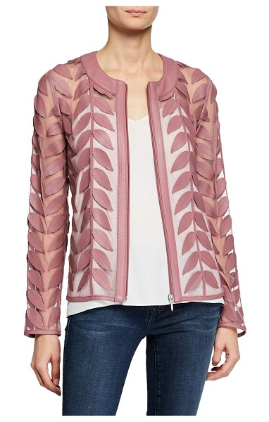 Neiman Marcus Leather Leaf & Mesh Combo Jacket in mauve