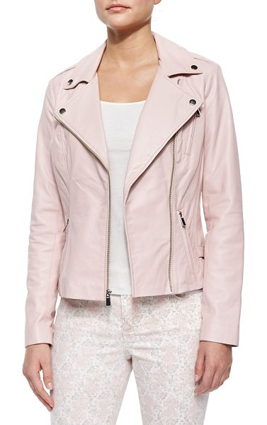 Neiman Marcus Motorcycle zip-front leather jacket in pink - Lambskin. Napoleonic collar; asymmetric front zip. Long...