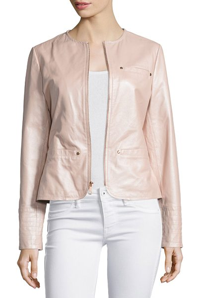NEIMAN MARCUS Pearlized Leather Jacket - EXCLUSIVELY AT NEIMAN MARCUS Leather jacket with...