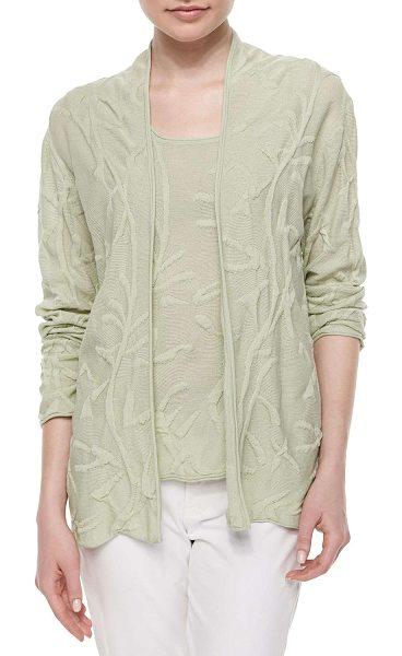 NEIMAN MARCUS Puff-textured cardigan - Our exclusive puff-textured cardigan; rolled edges....