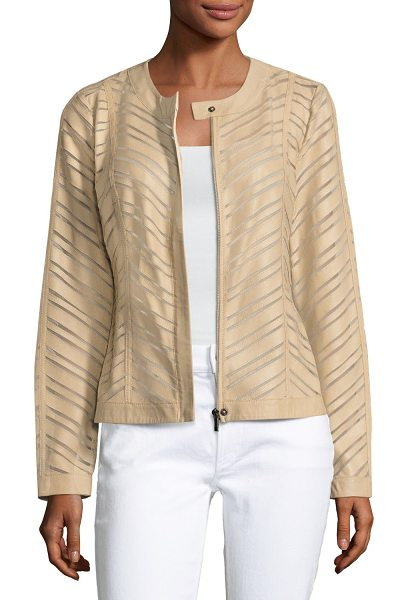 NEIMAN MARCUS Striped Leather Jacket - ONLYATNM Only Here. Only Ours. Exclusively for You....