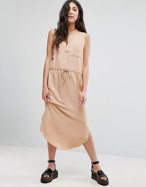 Neon Rose Draw String Shirt Dress in tan - Casual dress by Neon Rose, Woven fabric, Crew neck,...