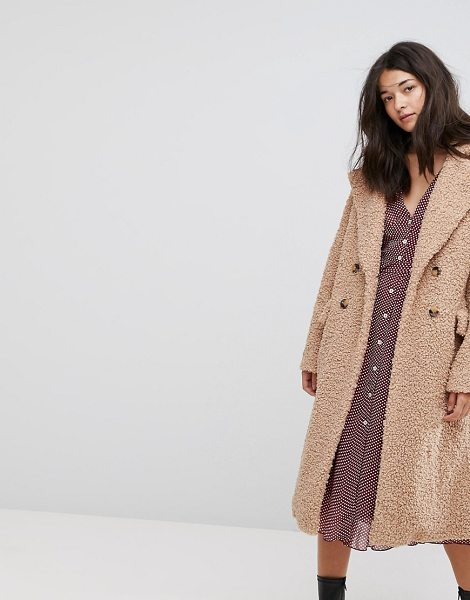 NEON ROSE Oversized Cocoon Coat In Faux Shearling - Coat by Neon Rose, Soft-touch borg, Notch lapels,...