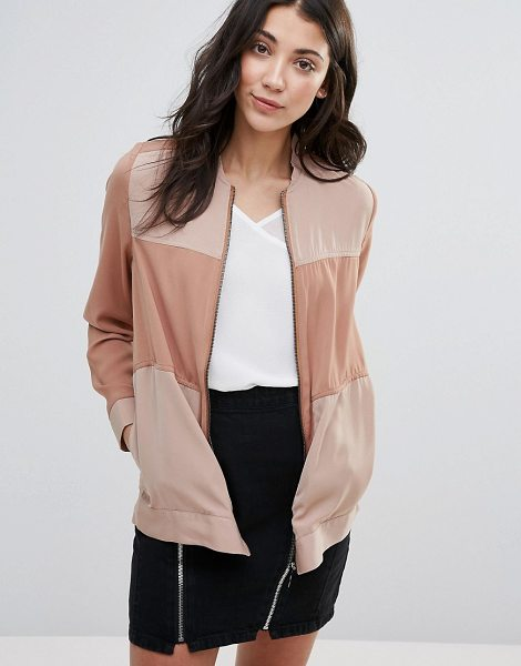 NEON ROSE Paneled Bomber Jacket - Jacket by Neon Rose, Smooth woven fabric, Baseball...