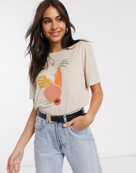 Neon Rose relaxed t-shirt with abstract vase graphic-beige in beige