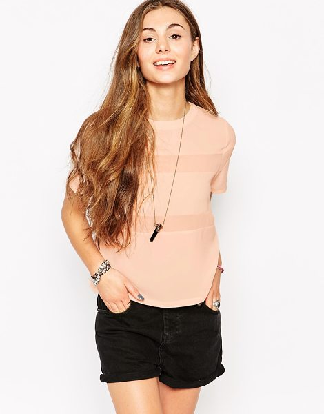 Neon Rose T-shirt with sheer insert in pink - Top by Neon Rose Lightweight, lightly textured fabric...