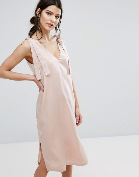 "Neon Rose V-Neck Slip Dress With Wide Tie Shoulders in pink - """"Dress by Neon Rose, Soft-touch satin, V-neck,..."