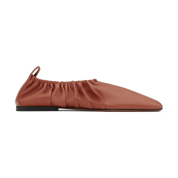 Neous 5mm Phinia Pleated Napa Ballet Flats in brown