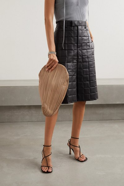 Neous pluto pleated leather clutch in sand