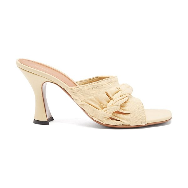 Neous sham braided knit and leather mules in cream